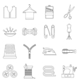 Sewing icons set outline style vector image