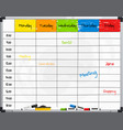 planner template on whiteboard vector image