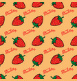seamless pattern with strawberries design element vector image