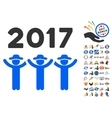 2017 Guys Dance Icon With 2017 Year Bonus Symbols vector image