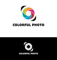 Photography logo with colorful leaves vector image vector image