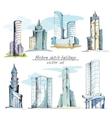 Modern sketch buildings colored vector image vector image