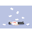Businessman work hard and unconscious on the floor vector image