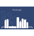 Pittsburgh city skyline on blue background vector image vector image