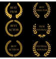 Film awards Golden round laurel wreaths vector image