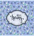 hello spring hand drawn brush pen lettering on vector image