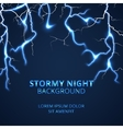 Stormy night with striking lightnings background vector image