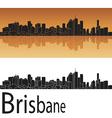 Brisbane skyline in orange background vector image