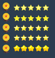 stars rating icons set and copper ribbon medal vector image