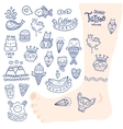 cute cartoon hand drawn doodle tattoo set vector image