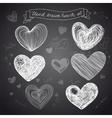 Set of Hand drawn hearts vector image
