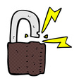 comic cartoon padlock symbol vector image
