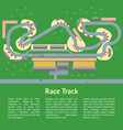 cartoon race track with cars card poster vector image
