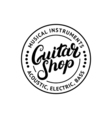 Guitar shop hand written lettering logo emblem vector image
