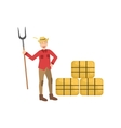 Guy With Farm Fork And Three Hay Stacks vector image