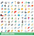 100 work icons set isometric 3d style vector image