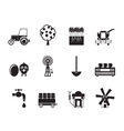 Silhouette farming industry and farming tools icon vector image