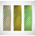 set of checkered banners with cardboard texture vector image