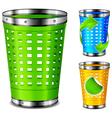 plastic trash basket vector image vector image