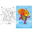 Coloring Book Of Cute Cartoon Squirrel Skates vector image