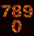 Ornamental figures orange fiery numbers decorated vector image