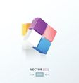 3D Cube twist pink blue orange Purple color vector image
