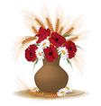 posy of poppies daisies and ears vector image vector image