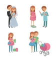 Set of wedding couple pregnant parents young vector image