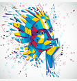 artificial intelligence head low poly style 3d vector image
