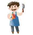 butcher holding knife and meat vector image