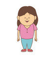 cartoon little girl smile standing character vector image