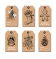 Christmas vintage gift tags set hand drawn vector image