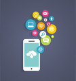 Cloud computing on a mobile phone vector image