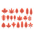 flat design autumn leaf shapes set vector image