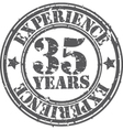 Grunge 35 years of experience rubber stamp vector image