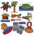 hawaii travel destination landmarks and famous vector image