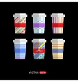 Set of flat coffee icons vector image