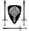 fantasy european shield and swords vector image