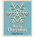 Vintage card with snowflake Retro Vintage Merry vector image