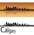 Calgary skyline in orange background vector image