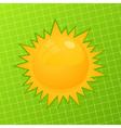 orange sun on a green background a vector illustra vector image