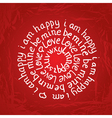 Valentines day round lettering on red background vector image