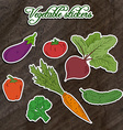 set of vegetable stickers- beet carrot broccoli vector image