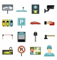 Car parking icons set flat style vector image