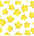 seamless pettern with star fruit carambola vector image vector image