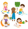 set of isolated children artist part 1 vector image