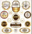 gold and silver labels with laurel wreath vector image vector image