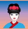 Geisha with a white face vector image