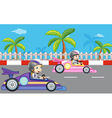 Girls car racing vector image