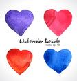 Watercolor of color hearts vector image